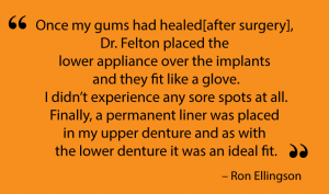 Satisfied testimonial from a Lolo implant supported dentures patient.